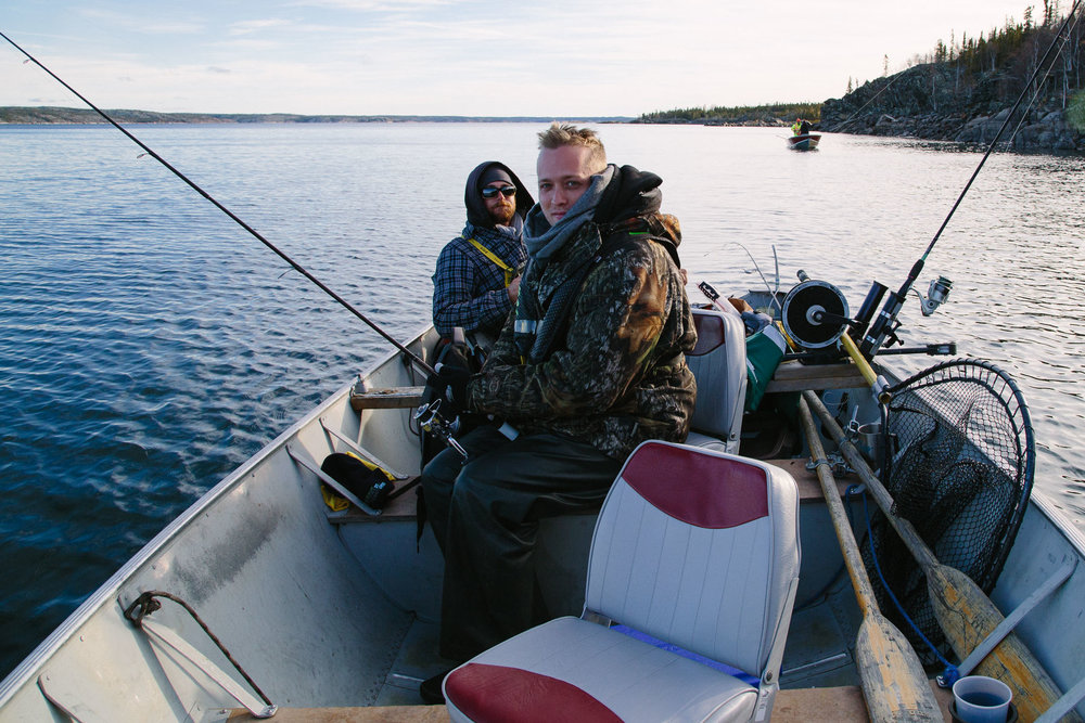German travel guide Patrick Schreiber (foreground) hunting for trout on Lake Duncan with fishing expert Aaron Lidder.