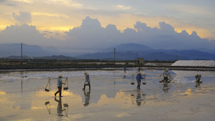 Making salt near Ninh Hoa, Vietnam. Source: Wikimedia Commons.