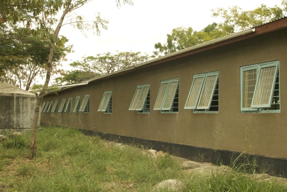 Classroom block with water catchment system.