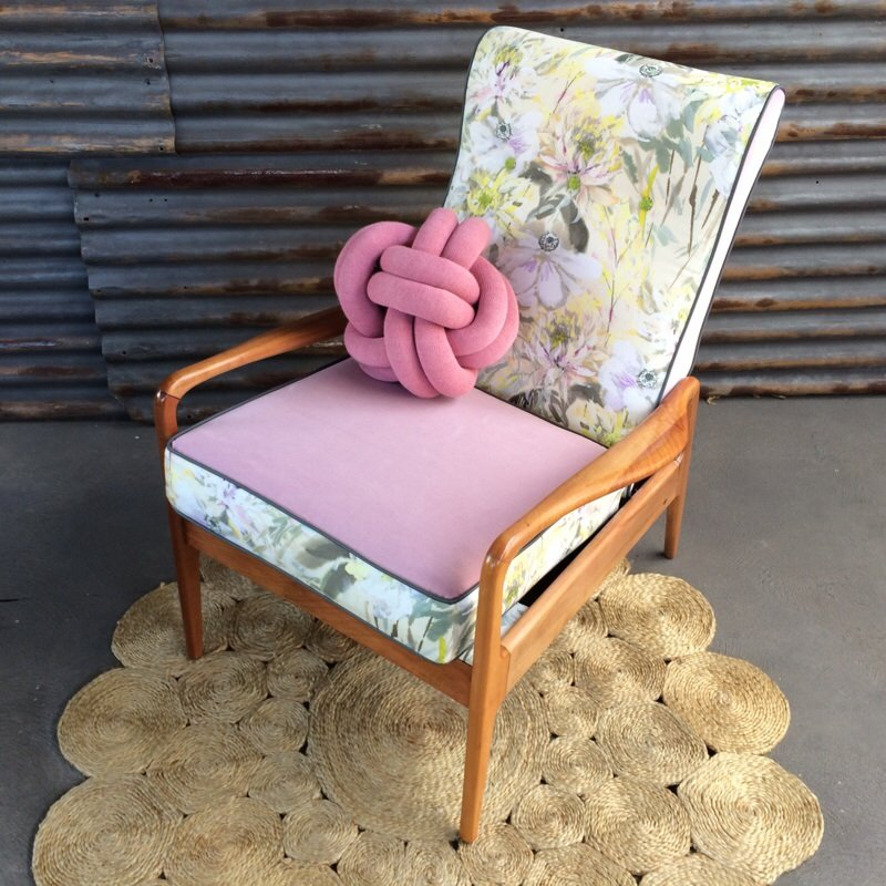 """Leilanie"" is a beautiful pastel piece upholstered in Designers Guild   Montelupo Birch  , also from the SS17 Majolica Collection."