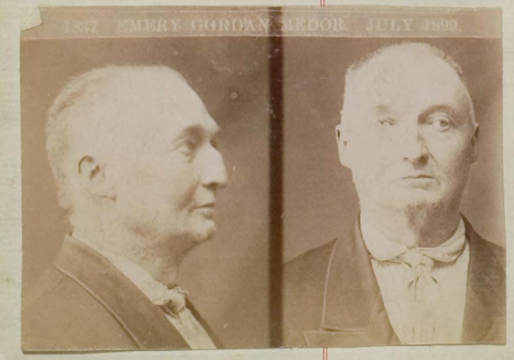 Phrenologist Emery Gordon Medor, mugshot 1899.