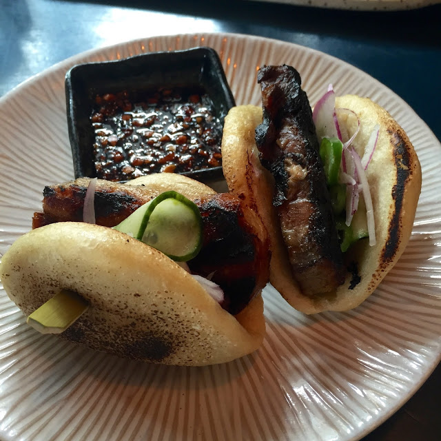 BBQ Pork Belly in Steamed Buns with Spicy Peanut Soy