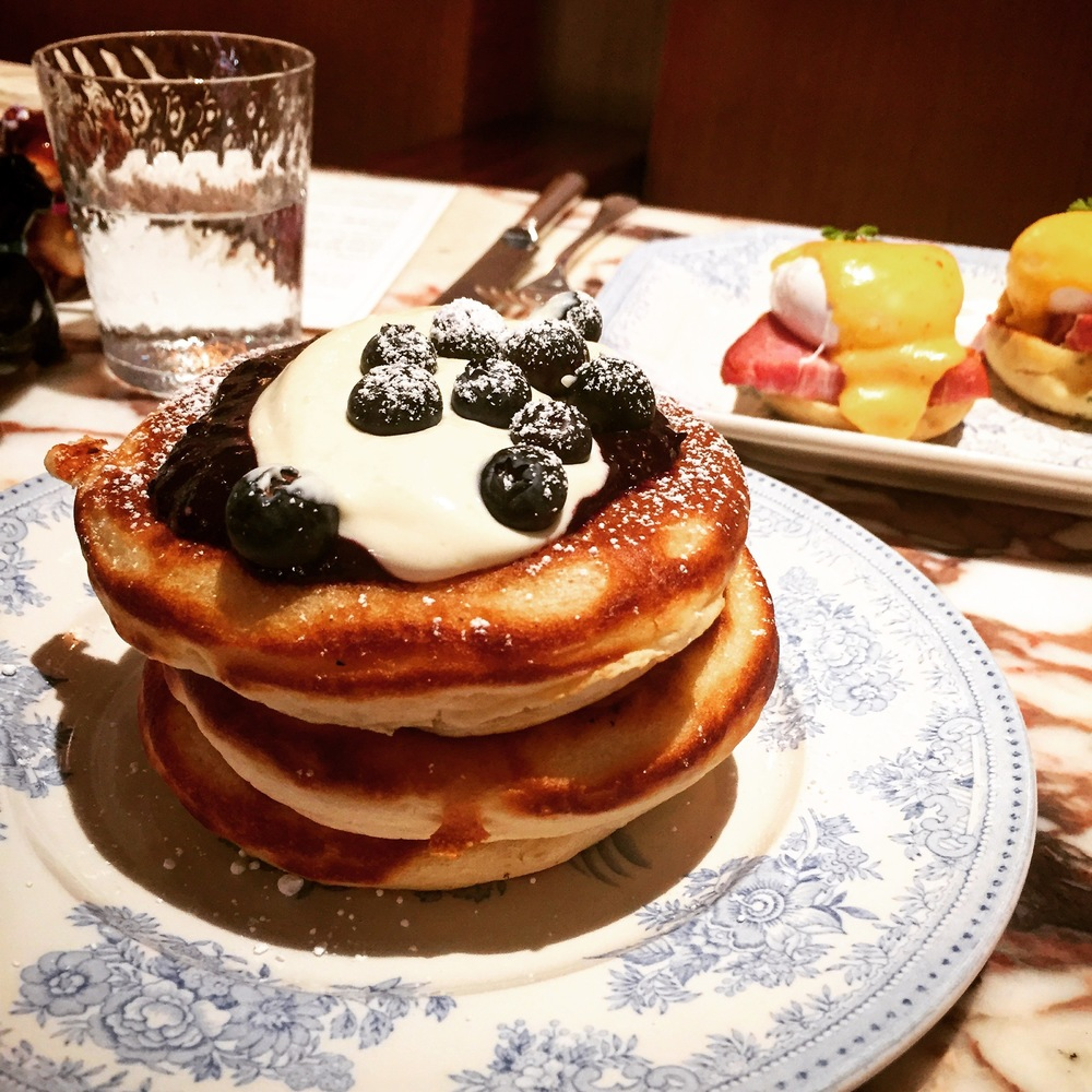 Buttermilk Pancakes with blueberries, maple syrup and crème fraîche