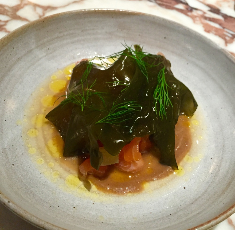 Salmon tartare with seaweed, apple and baby gem