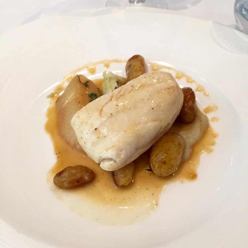 Cornish Plaice with Fondant Leek, Linzer Potato,Fennel Cream and Fish Jus