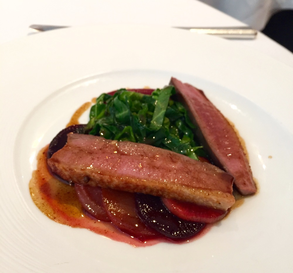 Barbary Duck Breast with Beetroot, Turnips, Sweetheart Cabbage and Pomegranate Duck Jus