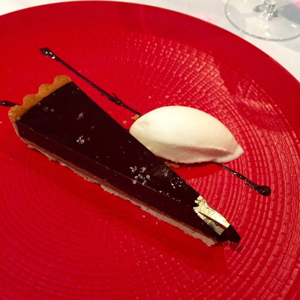 70% Dark Chocolate Tart & Praline Tart with Yoghurt Sorbet