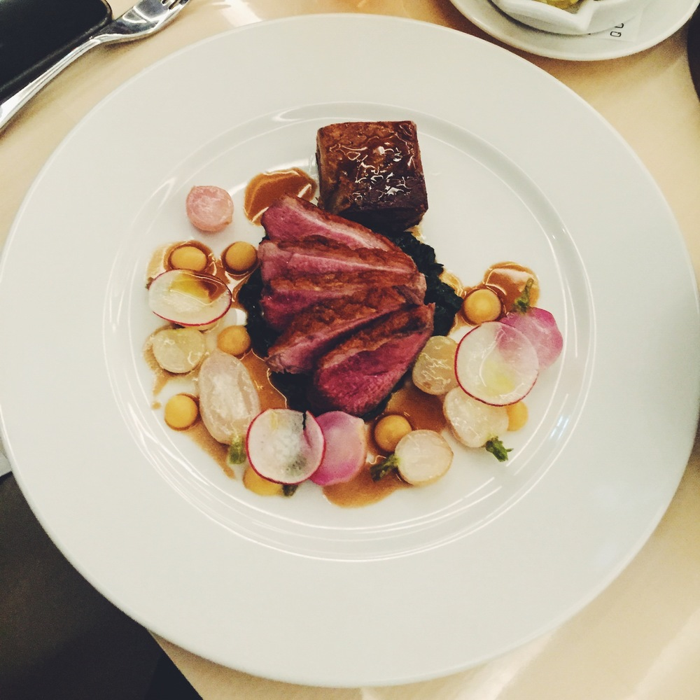 Creedy Carver Duck Breast, Braised & Raw Radishes and Pressed Leg