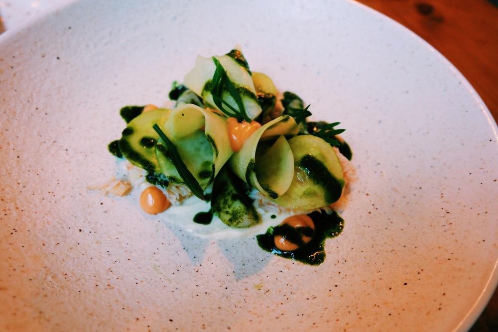 Starter: Cornish crab with turnip, lemon sour cream and seaweed
