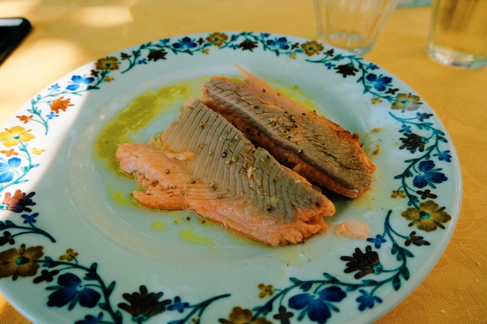 Freshly grilled salmon at Locanda Dell'Isola Comanica   restaurant