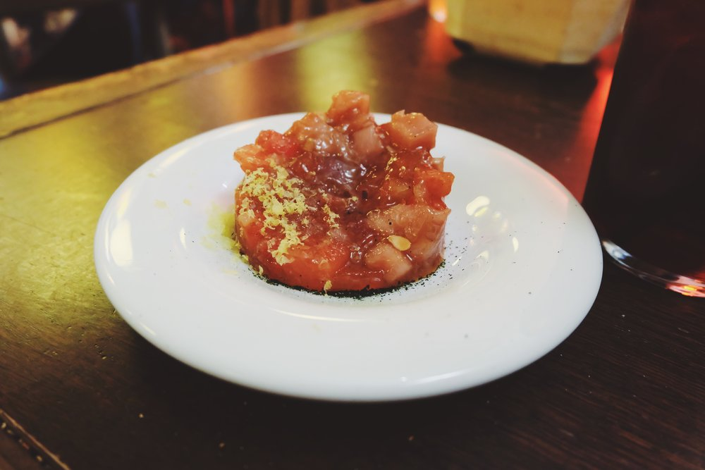 Tuna and watermelon tartare: a weird combination that suprisingly worked out well.