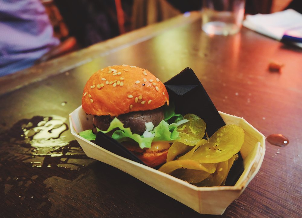 Macxobe burger with chips: essentially a kobe beef burger