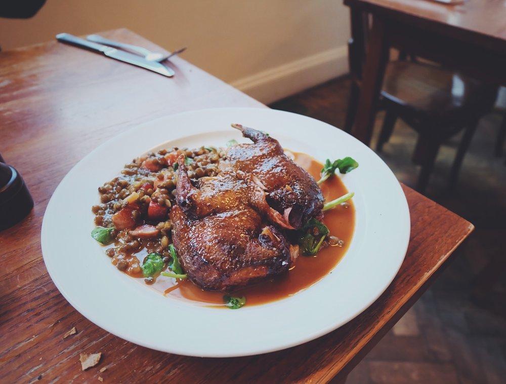 Pigeon, Lentils & Bacon