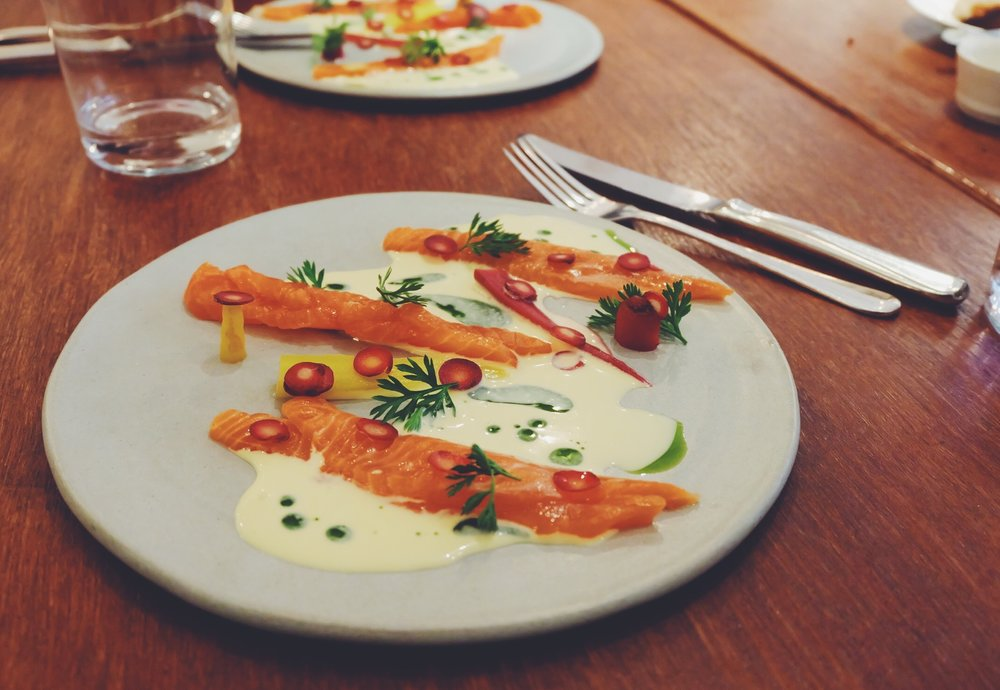 Hay-smoked Trout, fermented heritage carrots, raw cream & dill (£14)
