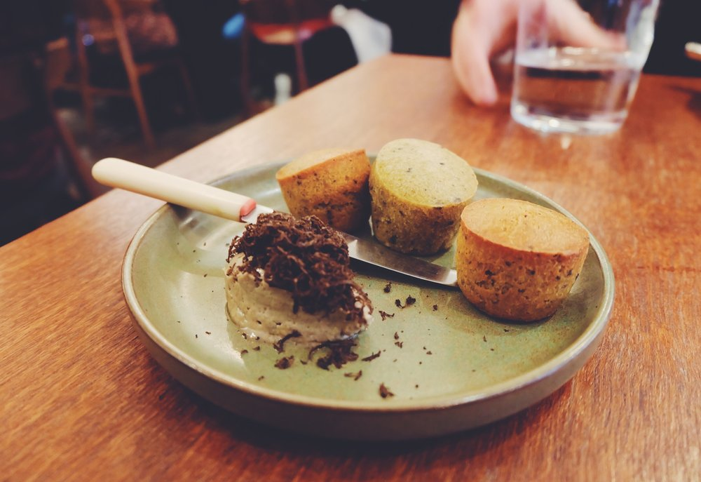 Warm cep muffins & whipped truffle butter (£5)