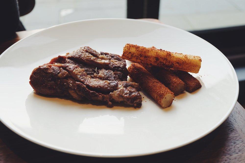 Iberico pork pluma,salsify (£18)
