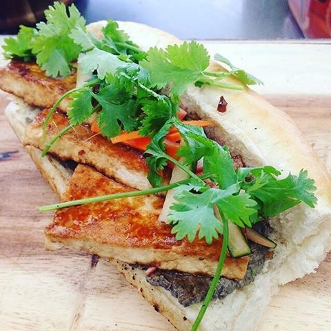 Also on the menu tomorrow @connectandcreatefest  B A N H  M I •Vietnamese style sandwich • mushroom + walnut pate • marinated tofu • pickled veg • coriander  #sundayfood #sunday #northdevonfood #eatgreen #yum #vietnamesefood #vegan #veggie