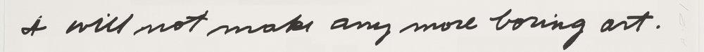 John Baldessari « I Will Not Make Any More Boring Art » (détail), 1971
