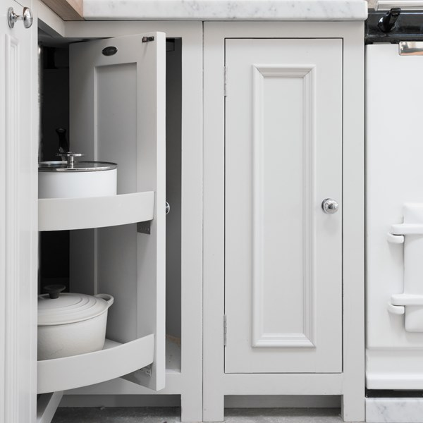 Neptune Chichester Range – Classic style corner cupboard pan drawer unit hand crafted in birchwood with smart cornices