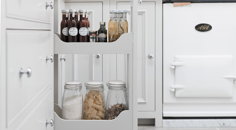 Neptune Chichester Range – Smart pan drawer larder storage unit for condiments, jars, herbs and spices