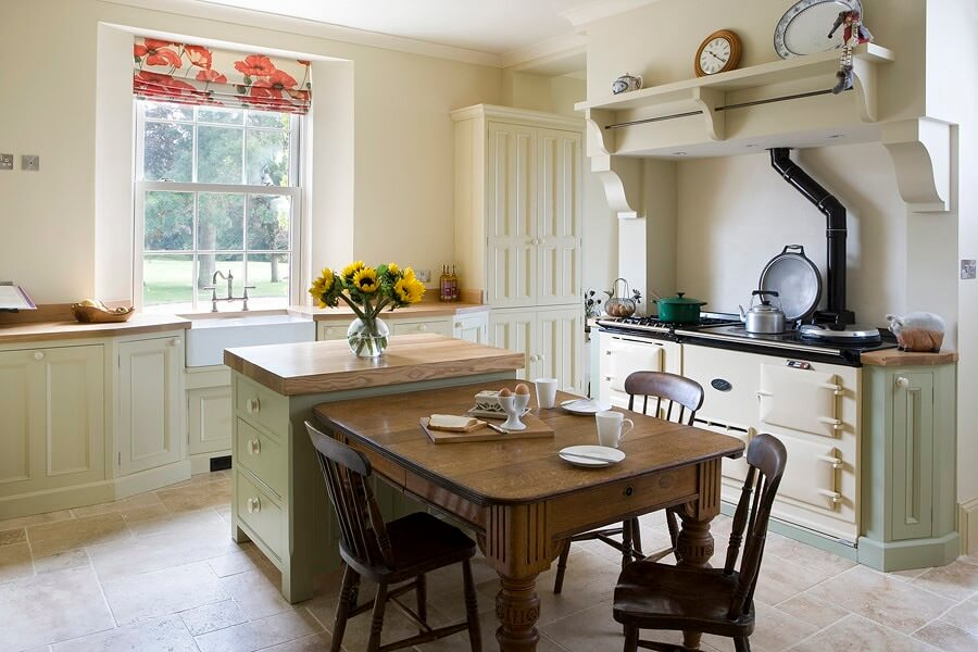 Beautiful Bespoke Handmade Country Kitchen With Aga And Light Green Farrow  U0026 Ball Paint