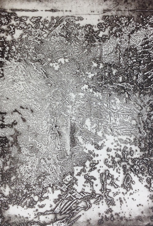 Disintegration Series: 'Molten' (2018) lasercut etching on acrylic (A4)