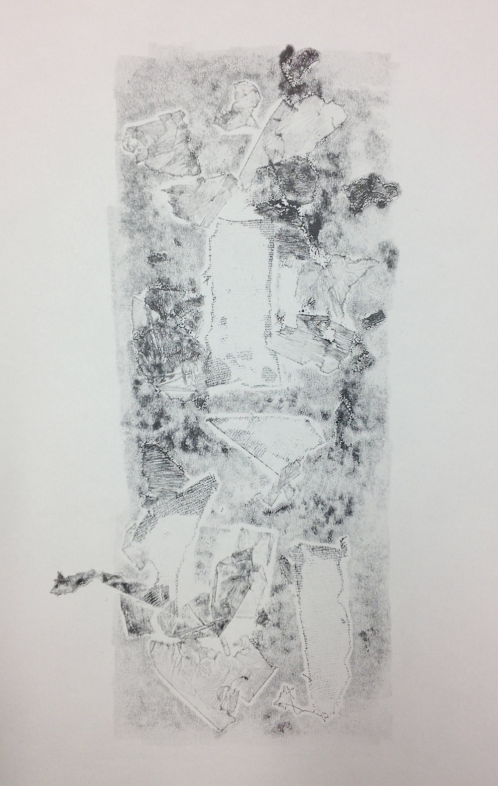 Imprinting Textures Series, (2017) Inked newsprint print (A3)