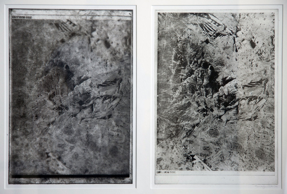 Disintegration Series: called 'absorption' ( A4 print mounted with Obliterate also A4). (2017) photo etchings (A3 framed)