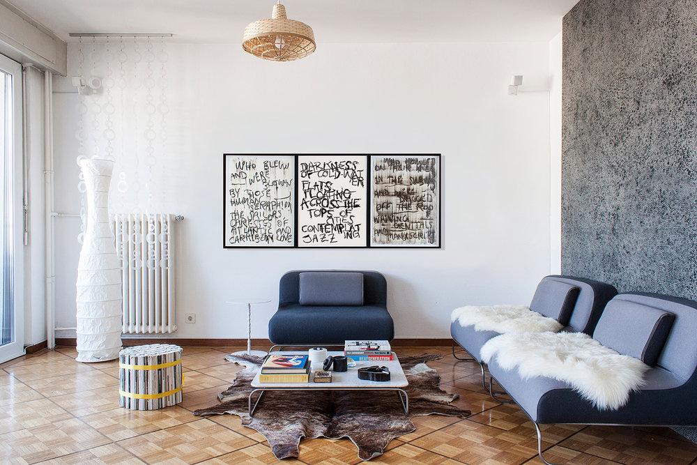 situation en appartement avec 2 autres œuvres sur papier