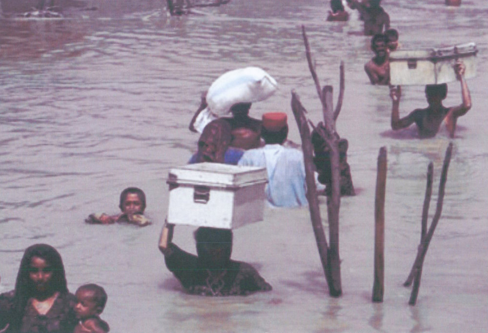 A.C. contributes to climate change. In countries like Bangladesh (shown here) flash floods caused by climate change leave people displaced and without proper resources.