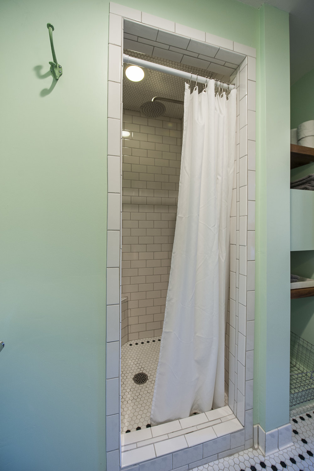 Tiled shower with rainfall style showerhead