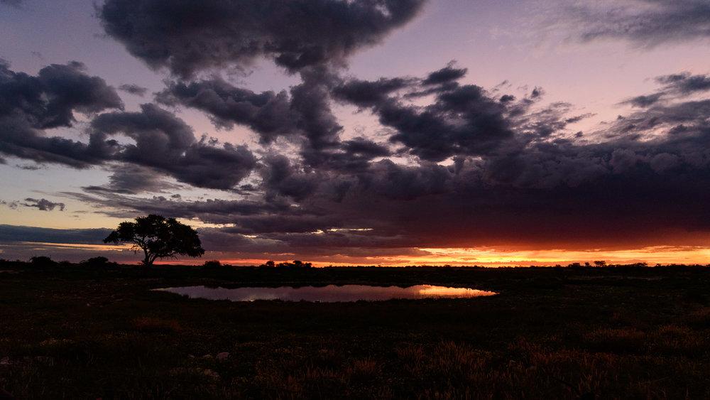 Okaukuejo Waterhole at Sunset