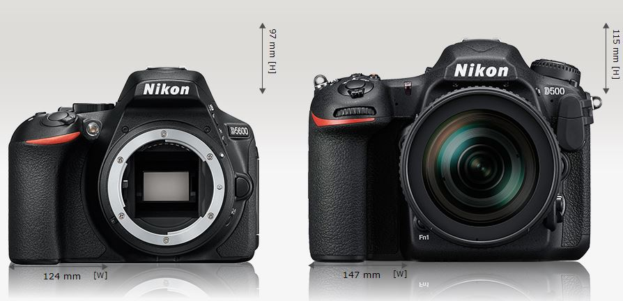 In addition to the smaller size, the D5600 weighs in at just 465g compared to 860g for the D500 (image from Camerasize.com)