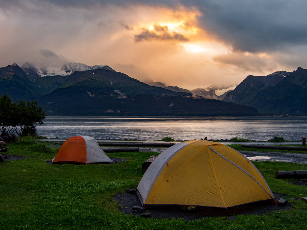 Our campsite in Seward's Waterfront Park