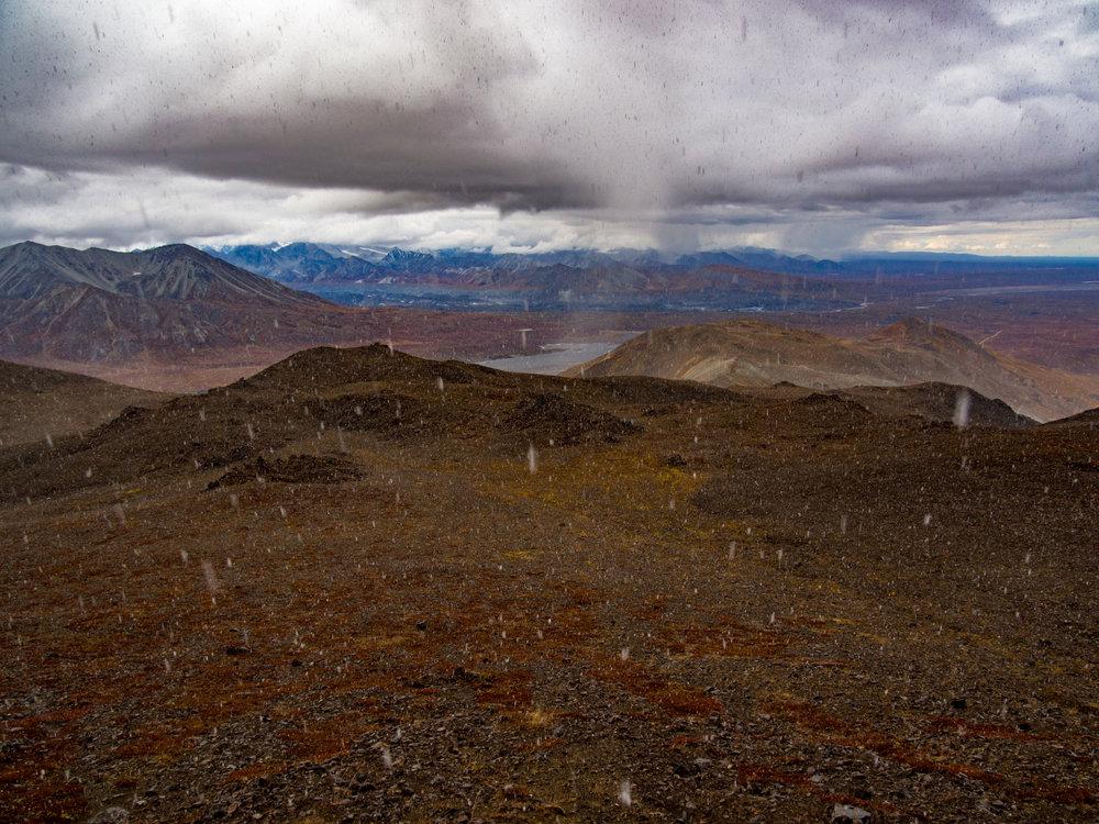 A brief snow flurry atop Thoro Ridge.