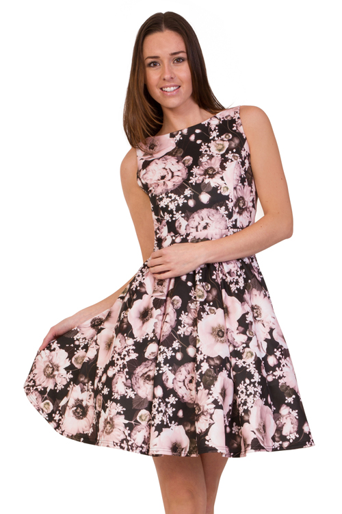 Model dress example, pink floral dress