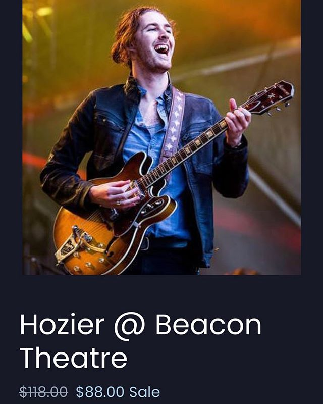 Last chance @Hozier - 25% off face value for TONIGHT at @beacontheatre! Head to our site now (link in bio)