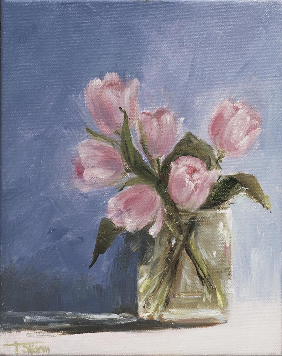 Pink Tulips - 8 x 10 x 1.5D oil on gallery wrapped canvas