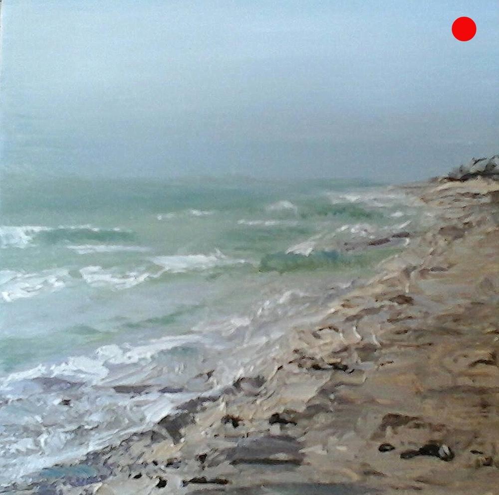 "Copy of Walk On The Beach - 4"" x 4"" x 1""D  Oil on cradled wood panel"