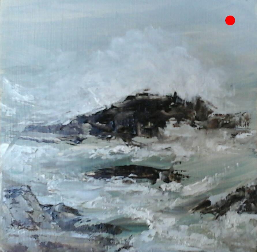 "Copy of Breaking Waves - Rye Beach, NH,  4"" x 4"" x 1""D Oil on cradled wood panel"