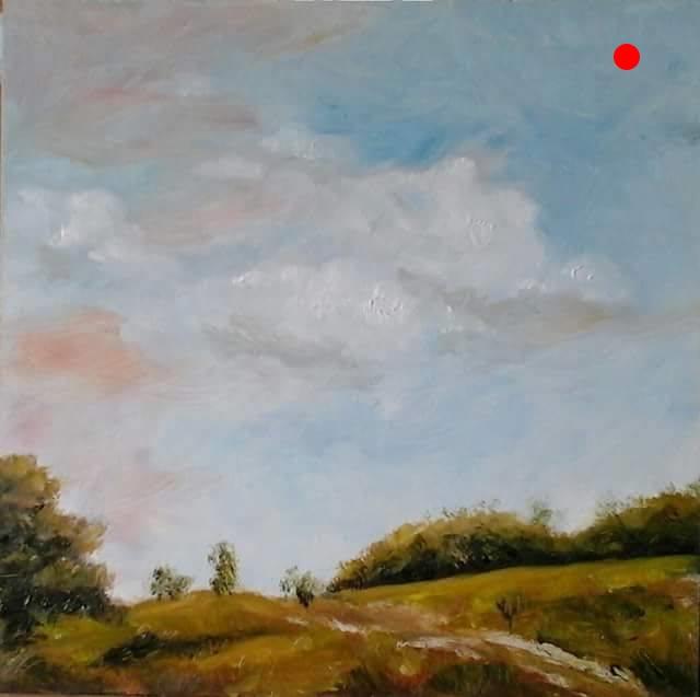 "Copy of Farm View Newton Road - S Hampton, NH, 6"" x 6"" x 1""D Oil on cradled wood panel"
