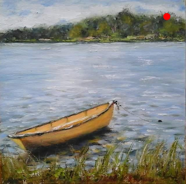 """Copy of Yellow Dory - Lowell's Boat Shop, Amesbury, MA, 8"""" x 8"""" Oil on canvas panel in black finish wood floater frame"""