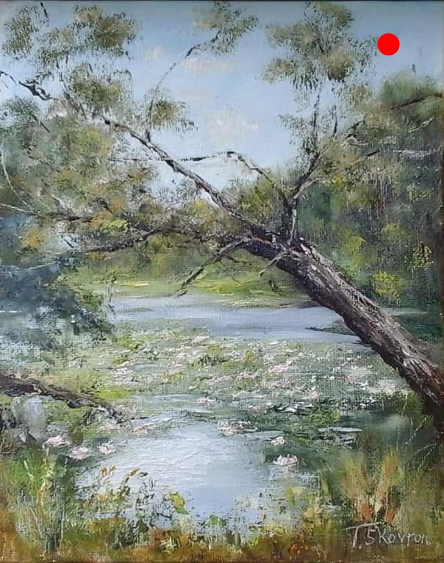 """Copy of Fishing Hole - Lake Attitash, Amesbury, MA, 8"""" x 10"""" x 1.5""""D Oil on canvas panel in black finish floater frame"""