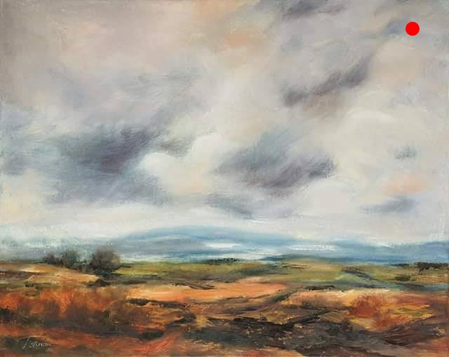 """Copy of Autumn Sky - Mountain Range, Ossipee, NH, 16"""" x 20"""" x 1.5""""D Oil on canvas in black finish floater frame"""