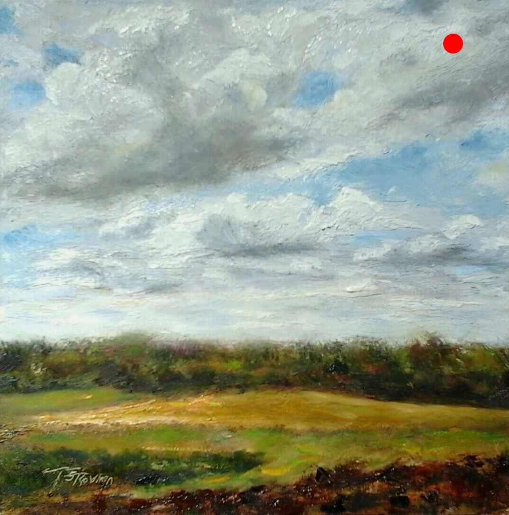 """Copy of View of Nicol's Farm - Newton, NH, 6"""" x 6"""" Oil on panel in 3.25""""W black frame"""