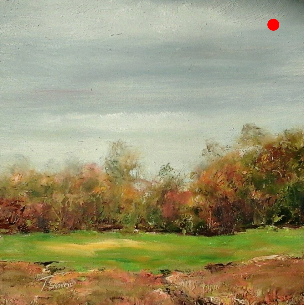 "Copy of Copy of Autumn at Nicol's Farm - Newton, NH, 6"" x 6"" Oil on panel in 3.25""W black frame"