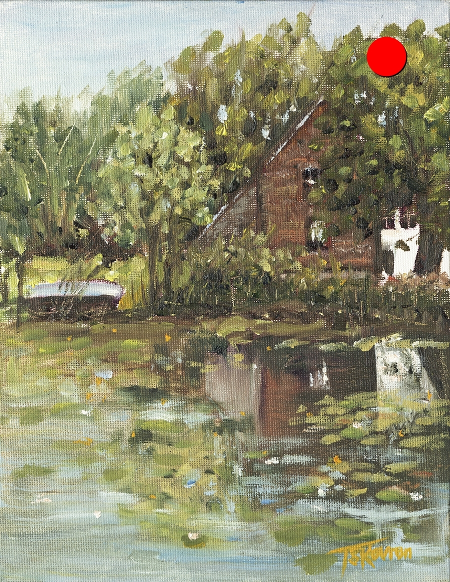 """Copy of Marden's Pond - Newton, NH, 7"""" x 9"""" x 1.5""""D Oil on canvas panel in black floater frame"""
