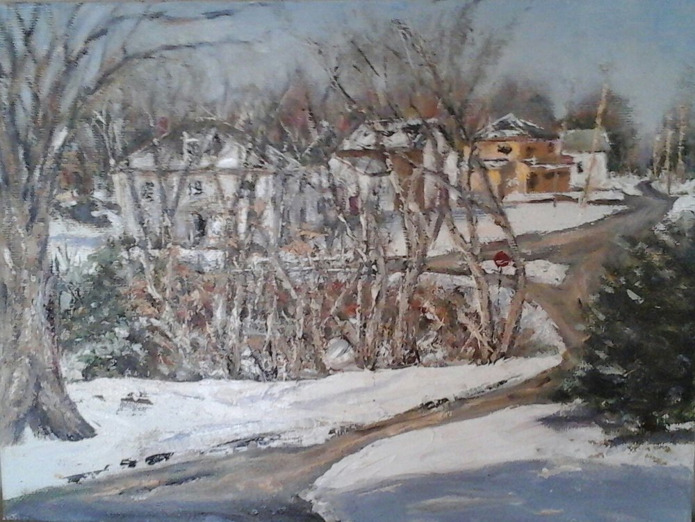 """First Snowfall"" View from my kitchen window of Rowe's Corner, Newton, NH  9""x 12"" oil on panel in 4""W black with ant. gold liner frame  Available at Newburyport Art Association, 65 Water St., Newburyport, MA, 978-465-8769"