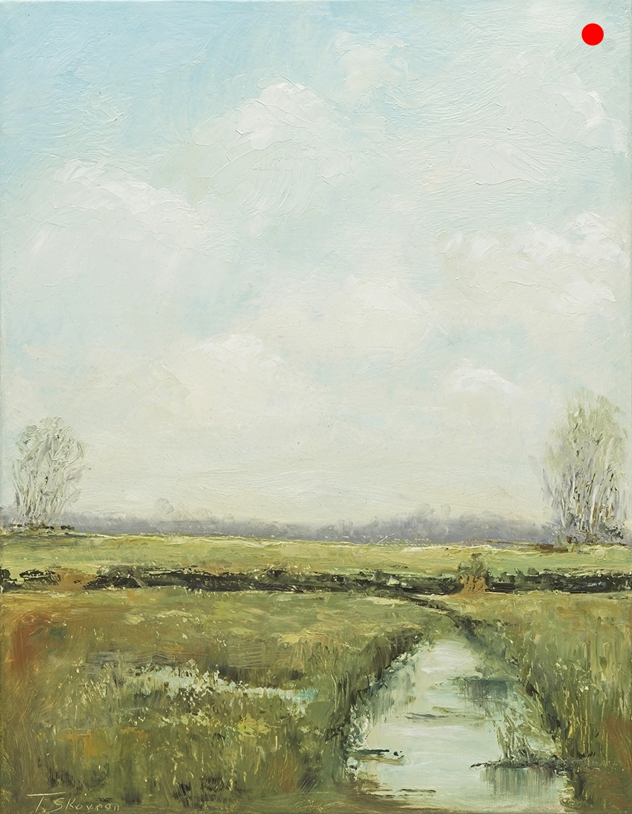 """Copy of Meadow View 2 - of diptych 14"""" X 18"""" x 1.5""""D Oil on canvas in natural finish floater frame"""
