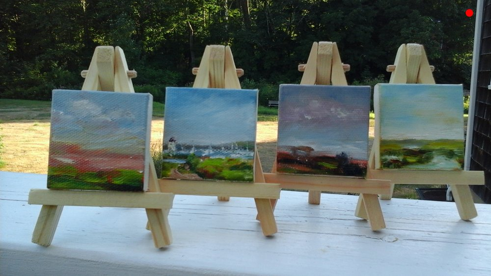 """Copy of Micro Minis - 2"""" x 2"""" Oil on canvas with easel.  L to R, Eureka (Sold), Prose (Sold), Heal (Sold), The Big Picture (sold)"""
